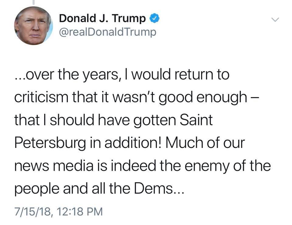 Image Trump tweet 'Much of our news media is indeed the enemy of the people'