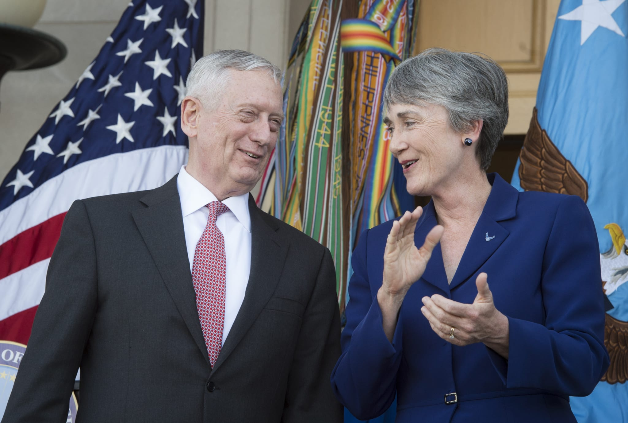 Image Secretary of Defense James Mattis with Secretary of the Air Force Heather Wilson after her swearing-in ceremony May 16, 2017. Mattis originally opposed the Space Force for budgetary concerns, but has since voiced support for establishing a new combatant command for space (DOD photo by Air Force Tech. Sgt. Brigitte N. Brantley)