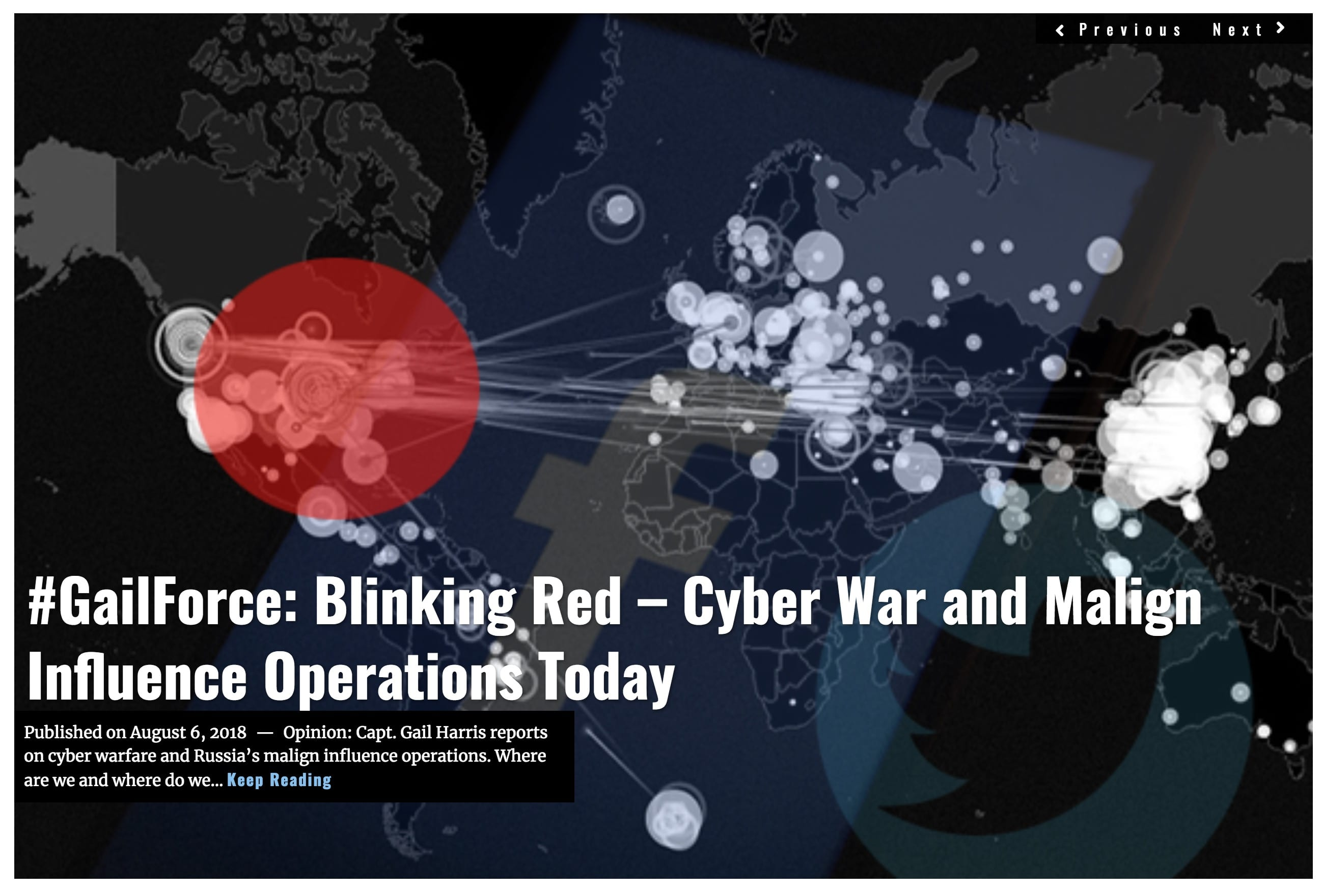 Image Lima Charlie News Headine GailForce Blinking Red - Cyber War and Malign Influence Operations Today AUG 6 2018