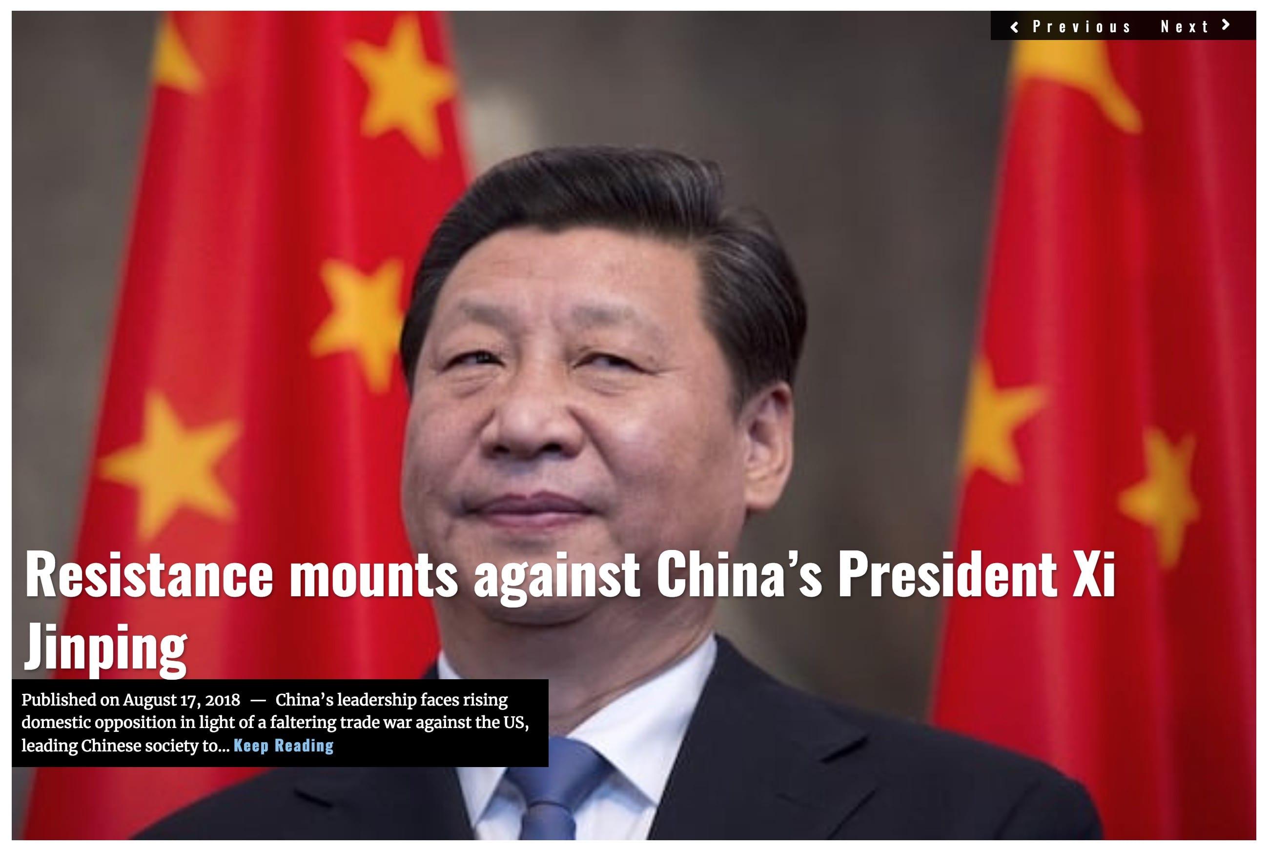 Image Lima Charlie News Headline China resistence J.Sjoholm AUG 17 2018
