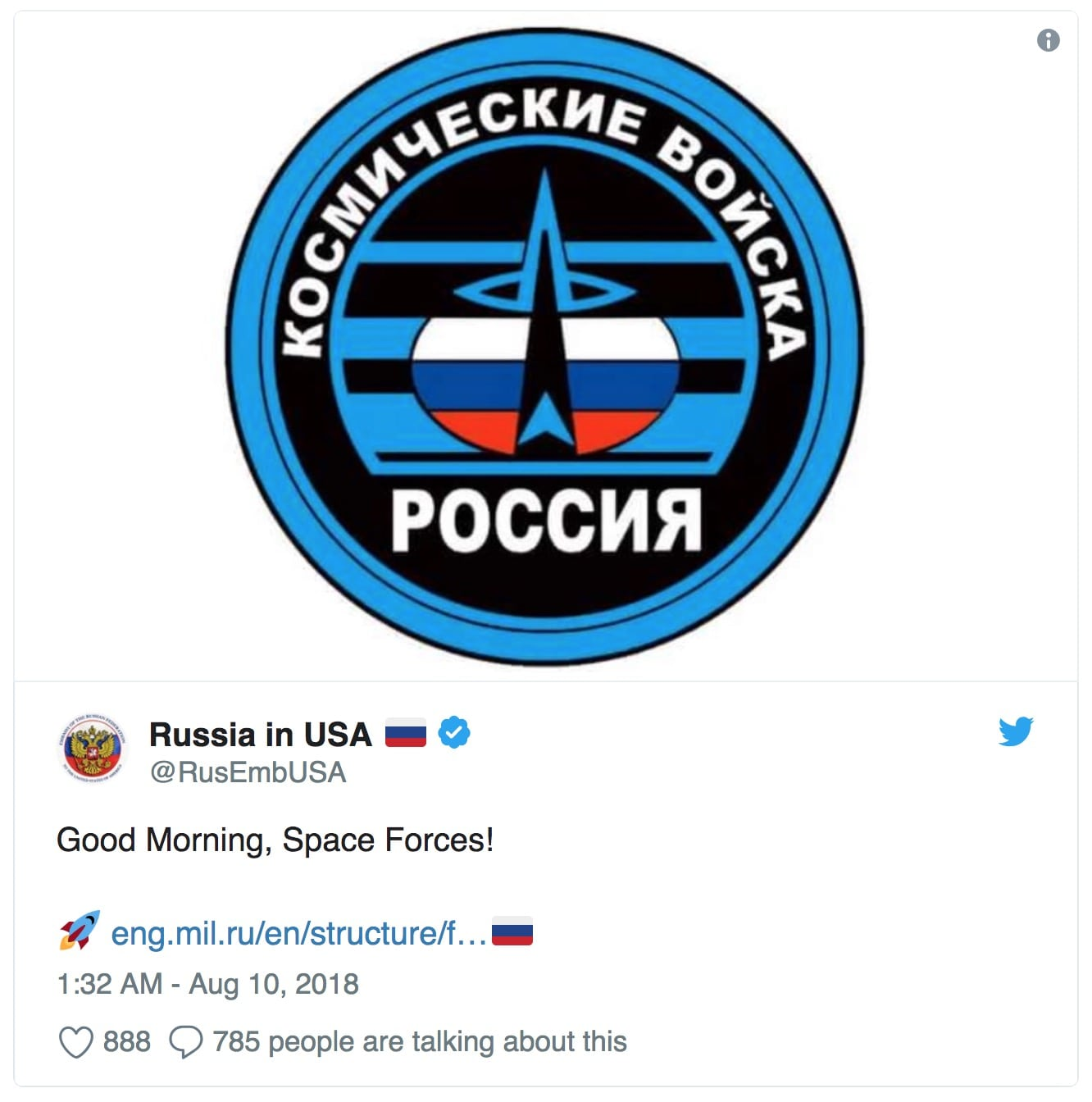 Image Russian Embassy tweet Space Force
