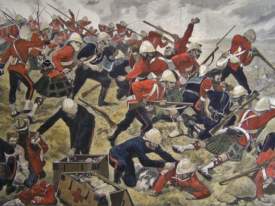 Image Battle of Majuba Hill on 27th February 1881 in the First Boer War. [Picture by Richard Caton Woodville]