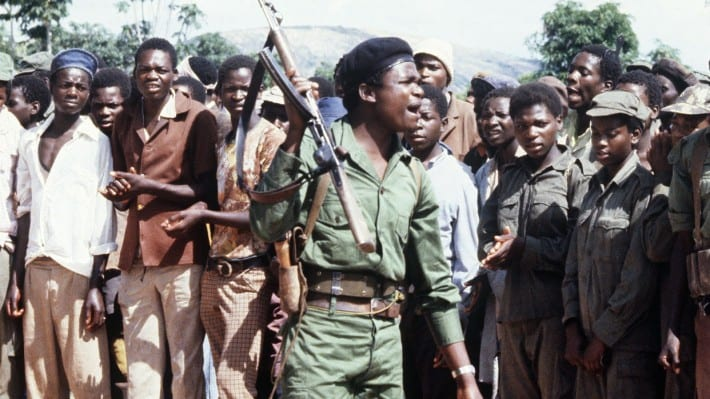 Image A picture taken on February 6, 1980 shows members of the Zimbabwean African Liberation Army (ZALA), led by Robert Mugabe, staging a rally in an unknown place in Zimbabwe.