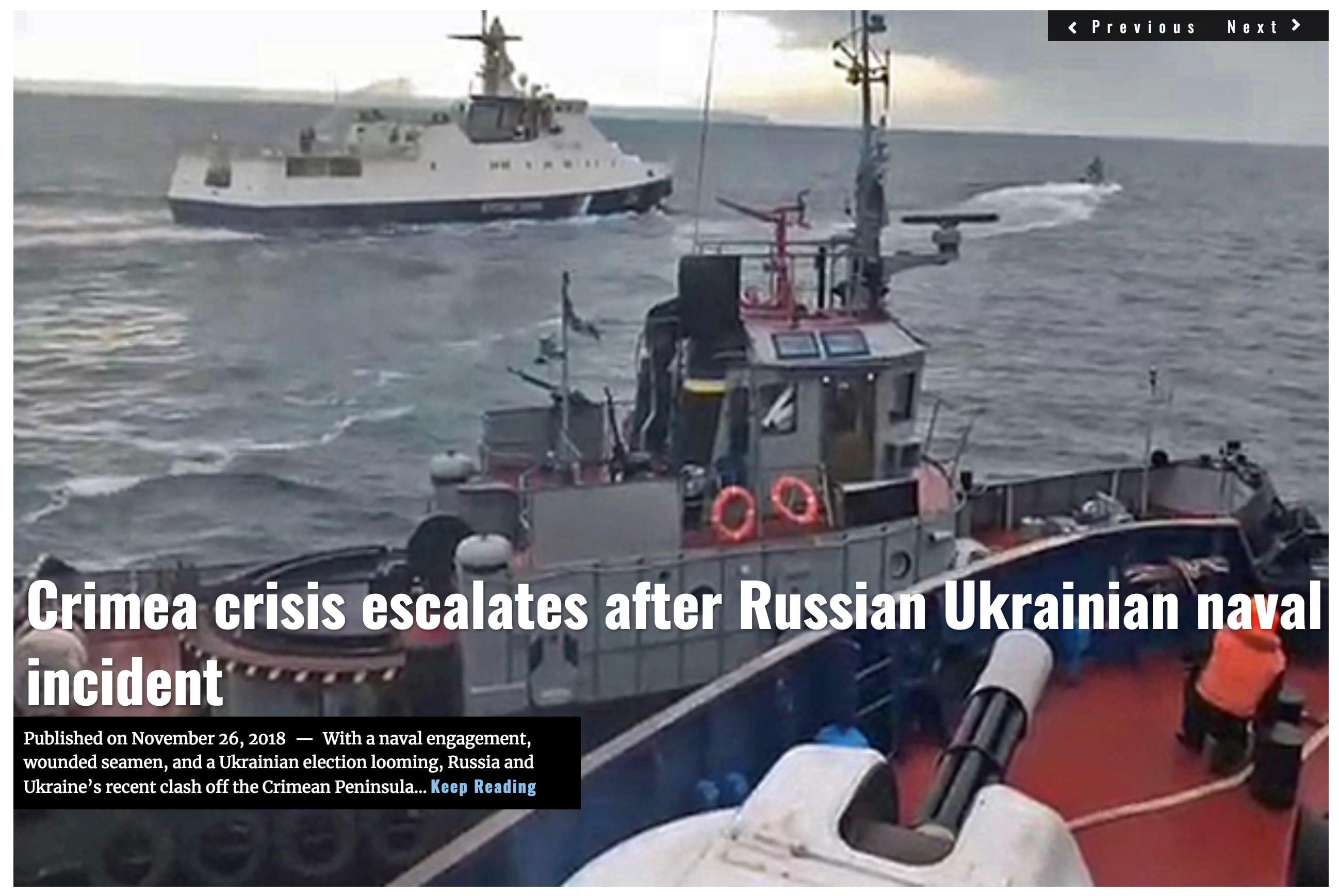 Image Lima Charlie News Headline Crimea Crisis Escalates NOV 26 2018