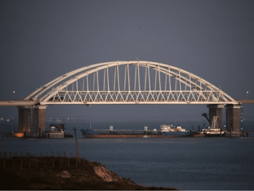 Image The tanker-blockade under the Kerch bridge, Crimea, Sunday, Nov. 25, 2018. (AP)