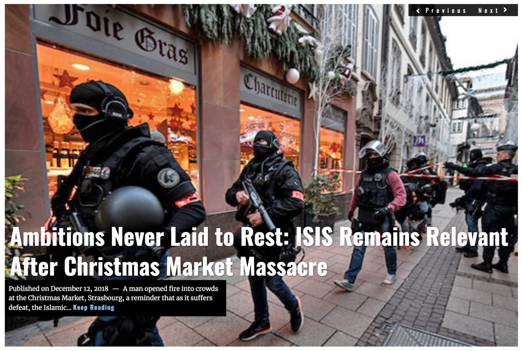 Image Headline Ambitions Never Laid ISIS Strasbourg DEC 12 2018