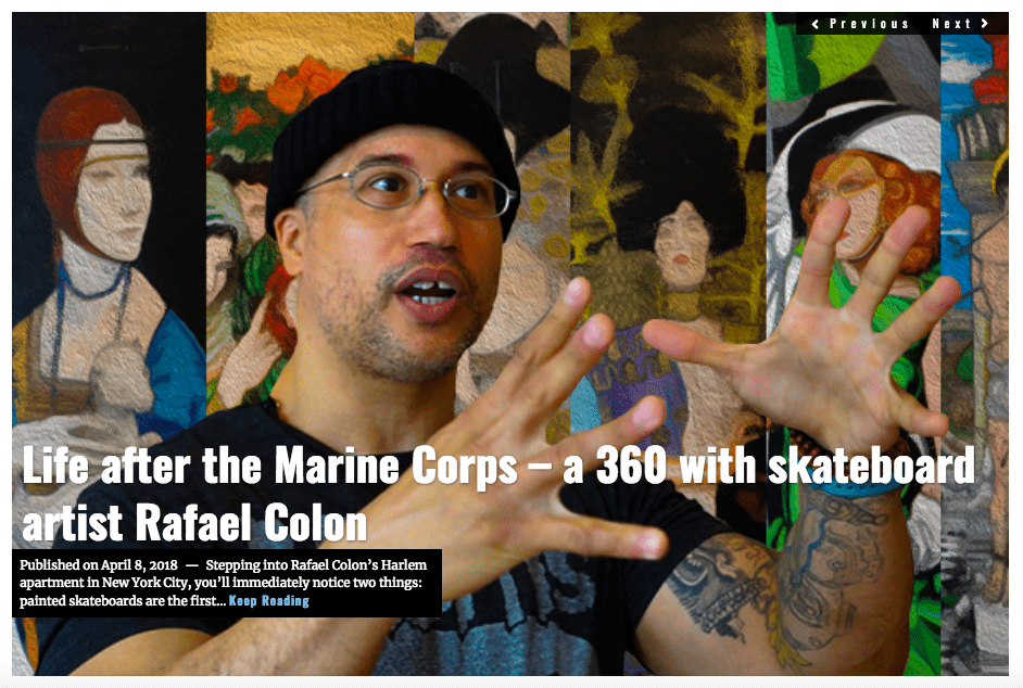 Image Lima Charlie News Headline Life after the Marine Corps skateboard artist Rafael Colon APR 8 2018
