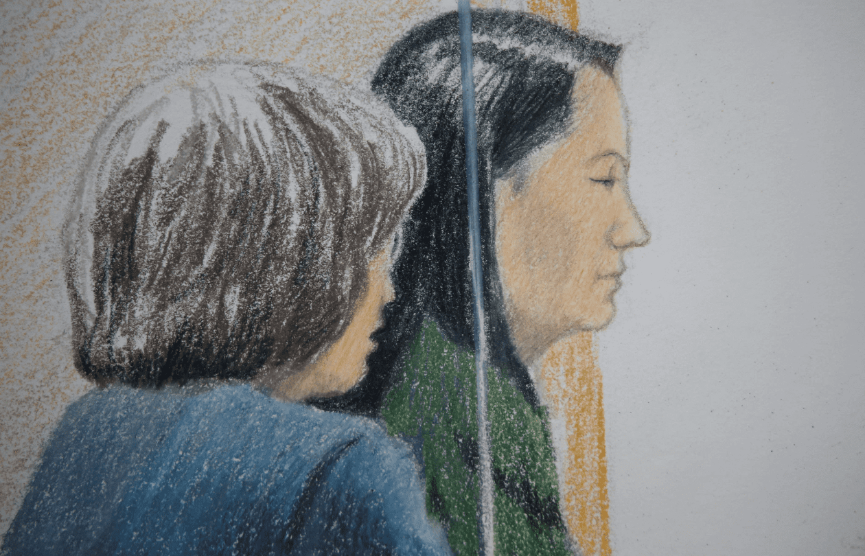 A sketch of Meng Wanzhou, Huawei's CFO, appearing Friday in a courtroom in Vancouver, Canada. (Jane Wolsak/Reuters)