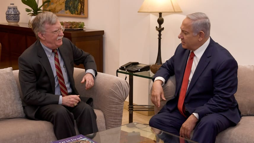 Image [Israeli Prime Minister Benjamin Netanyahu and U.S. National Security Adviser John Bolton in Jerusalem, January 7, 2019 (Photo: Matty Stern)
