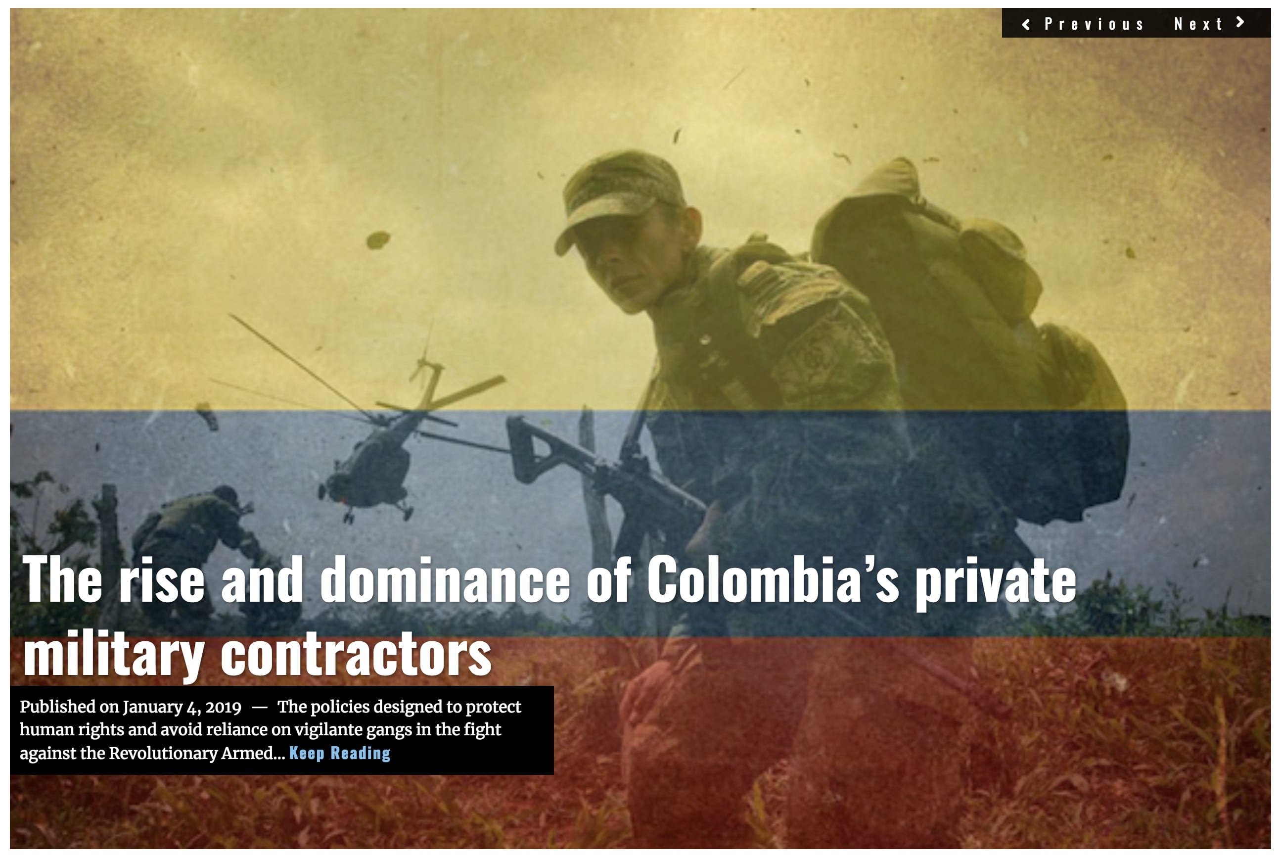 Image Lima Charlie News Headline Colombia private military contractors JAN 4 2018 (1)