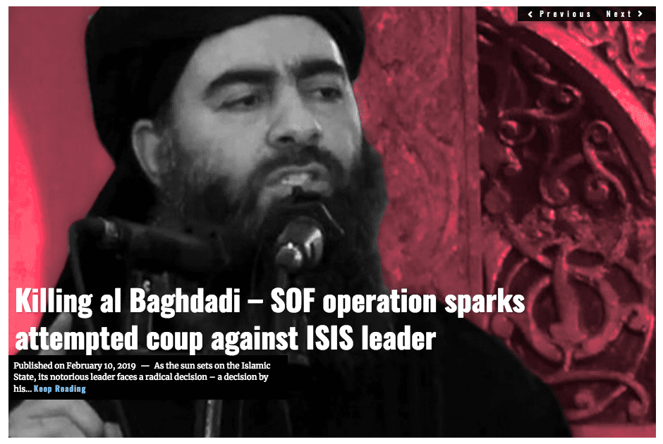 Image Lima Charlie News Headline Killing al Baghdadi FEB 10 2019