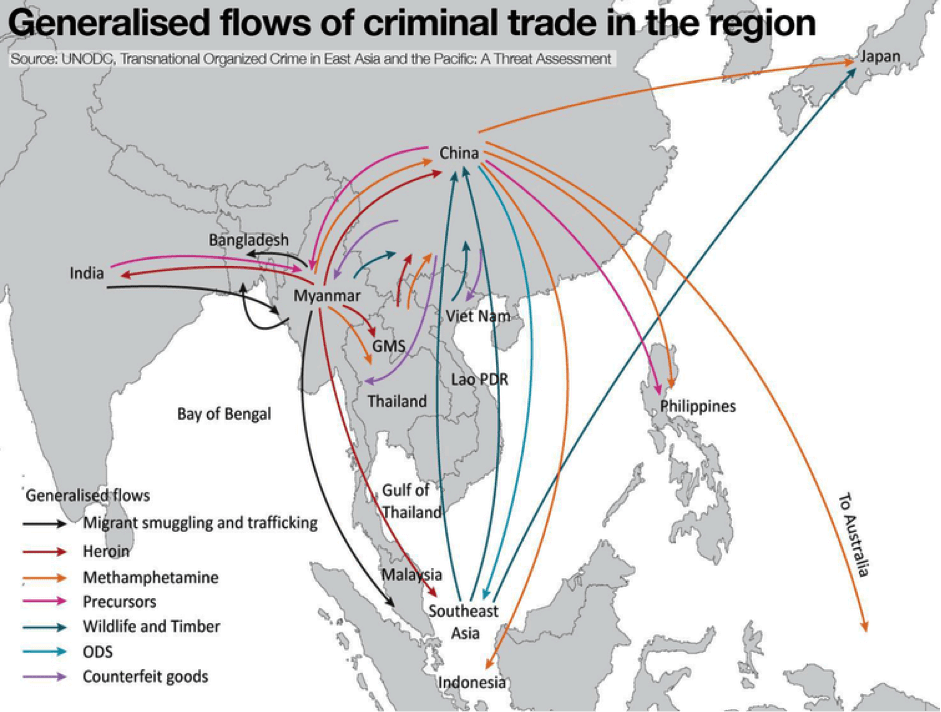 Image Map - Generalised flows of criminal trade - China (UNODC)