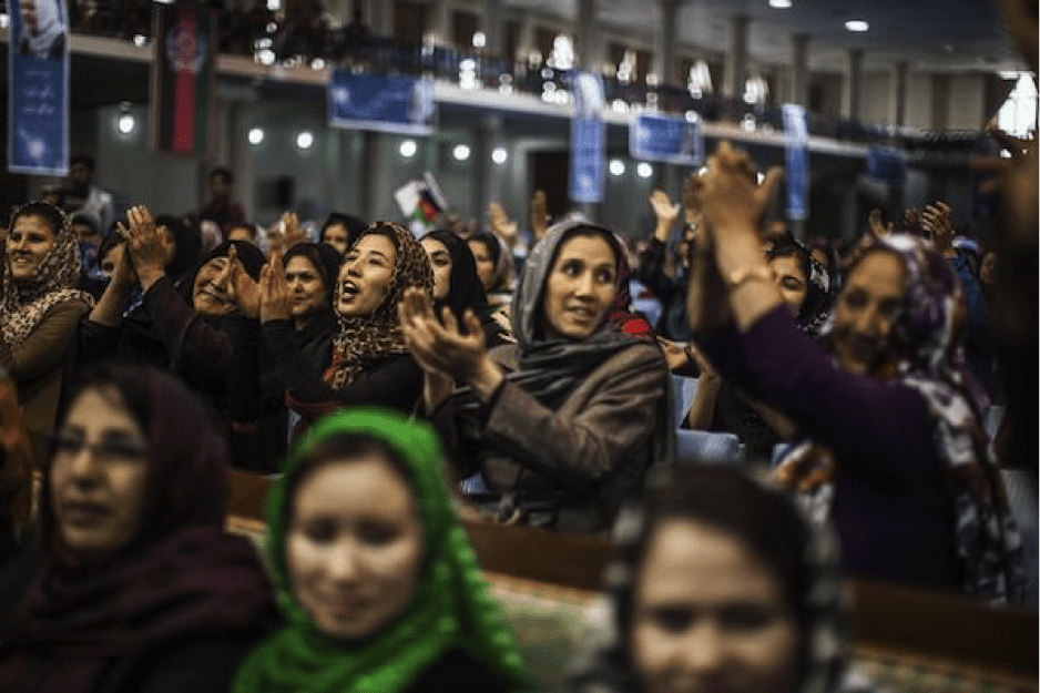Image [Afghan women at a rally for Habiba Sarobi, the first female candidate for vice president in Afghanistan's history, in 2014. (NYTimes/Adam Ferguson)]