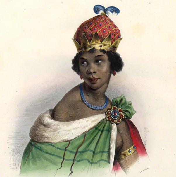 Image [Queen Mbande Nzinga][ Unknown artist, hand-colored lithograph, 1830s]