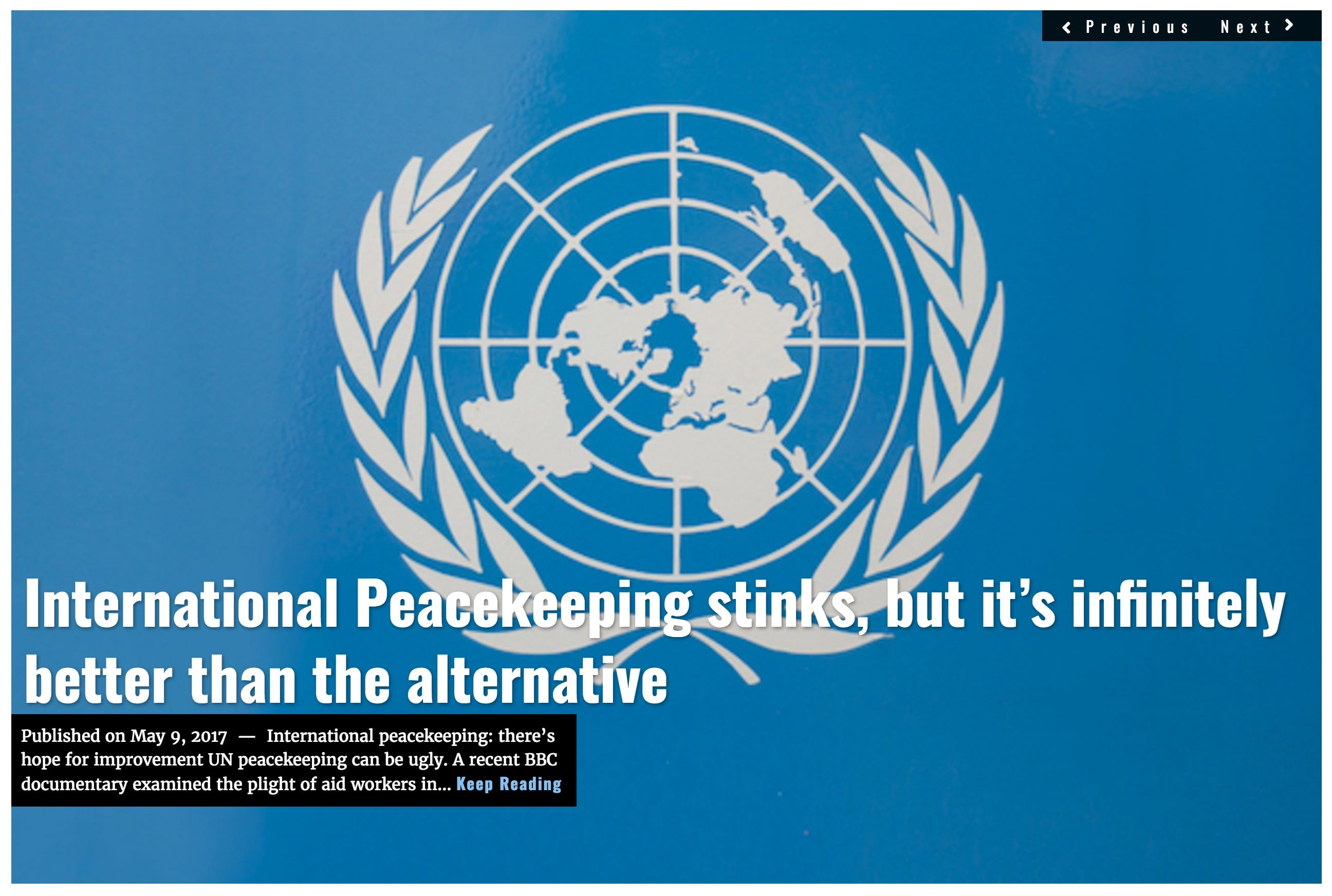 Image Lima Charlie News Headline UN peacekeeping D.Brooks MAY9
