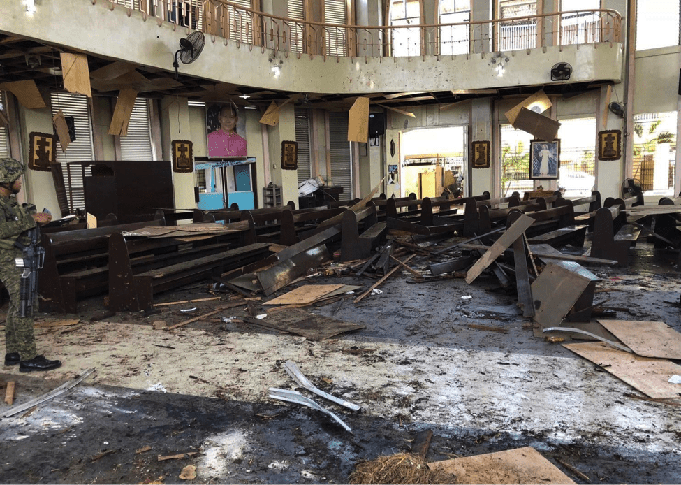 Image [Aftermath of the suicide attack on the Cathedral on the island of Jolo, the Philippines, on January 27, 2019. (Credit: Armed Forces of the Philippines)]