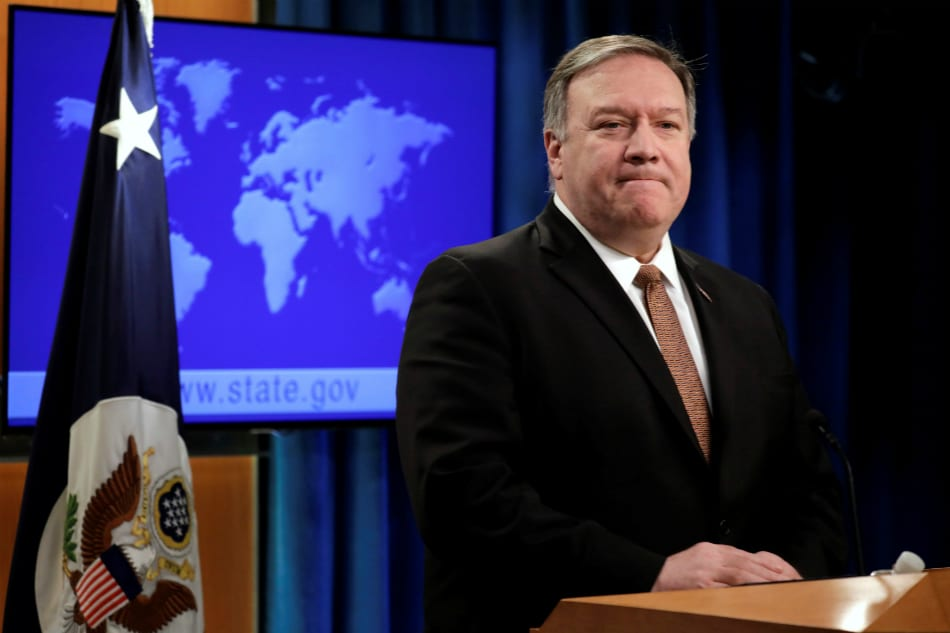 Image [U.S. Secretary of State Mike Pompeo during a news conference at the State Department in Washington, D.C. (Photo: Yuri Gripas / Reuters]