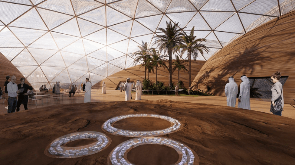 Image [Graphic of the United Arab Emirates plan to make a human colony on the red planet by the 2117. (Bjarke Ingels)]