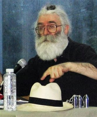 Image [Karadzic while in hiding, disguised with a beard, glasses and a top knot.]