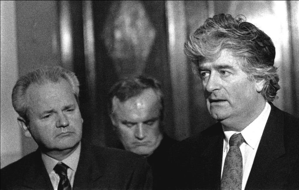 Image [Slobodan Milosevic, then President of Serbia (L), with Radovan Karadzic (R)]