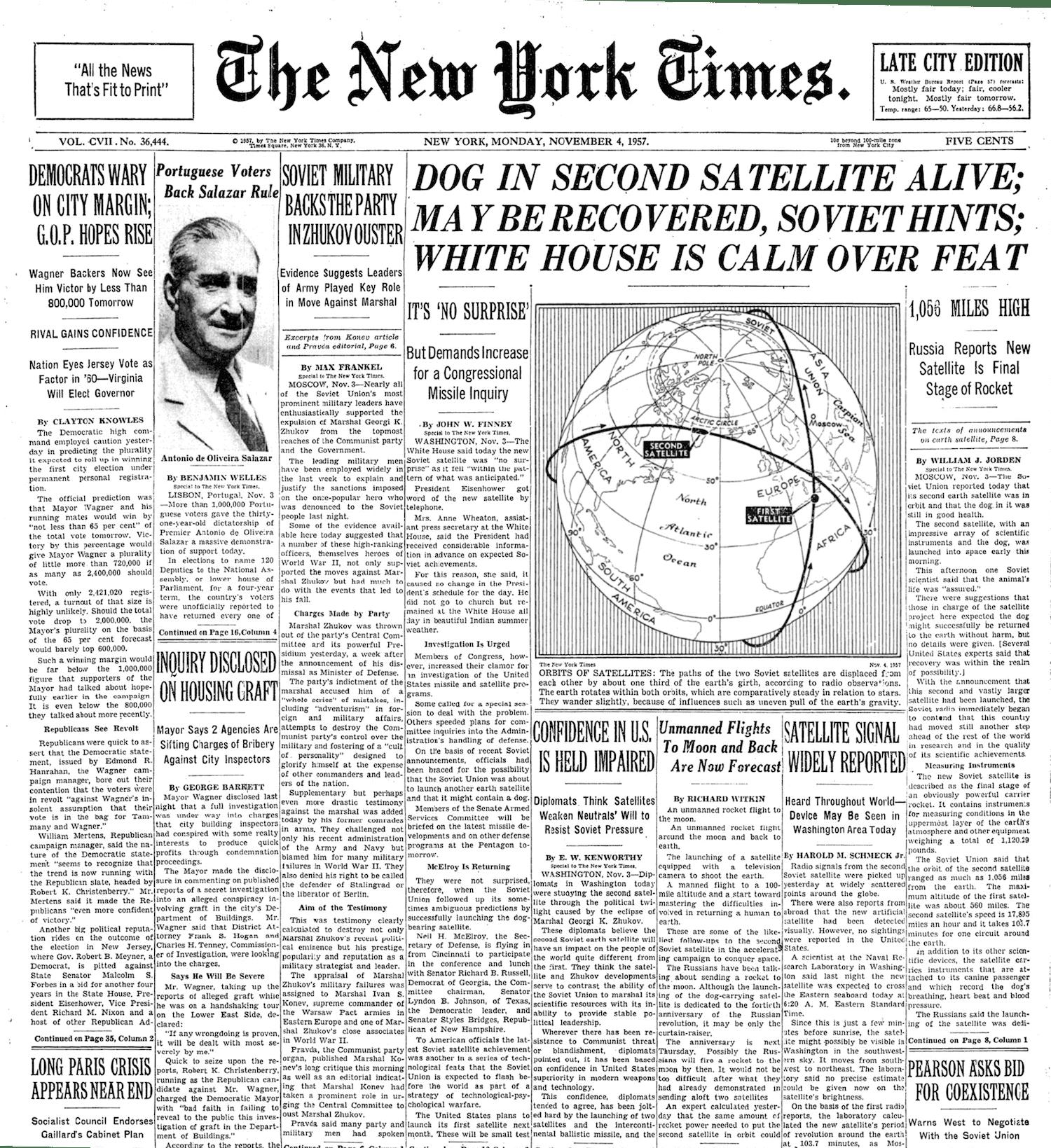 Image NY Times Sputnik 2 NOV 4 1957