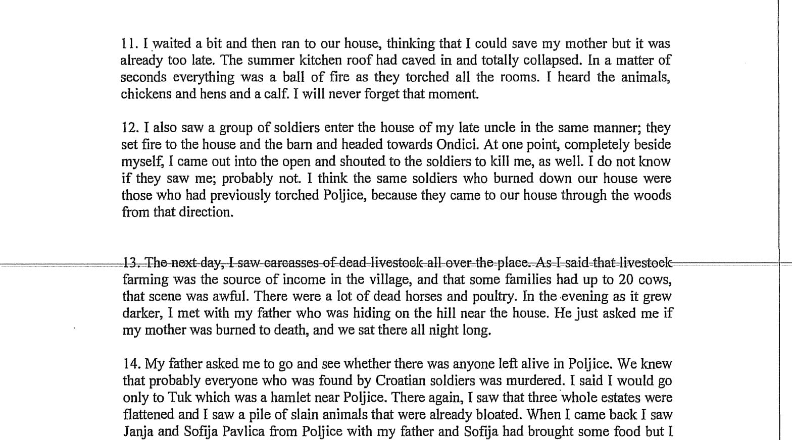 IMage [Testimony of witness Jela Ugarkovic on her account of Croatian Army attack on her village of Komic, August 5, 1995]