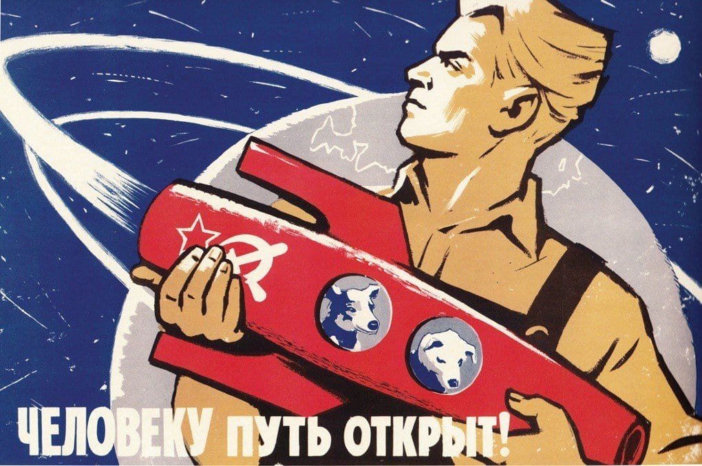 "Image A 1960 USSR space propaganda poster by the artist K. Ivanov, featuring Strelka and Belka. The text reads, ""The way is open to man!"""