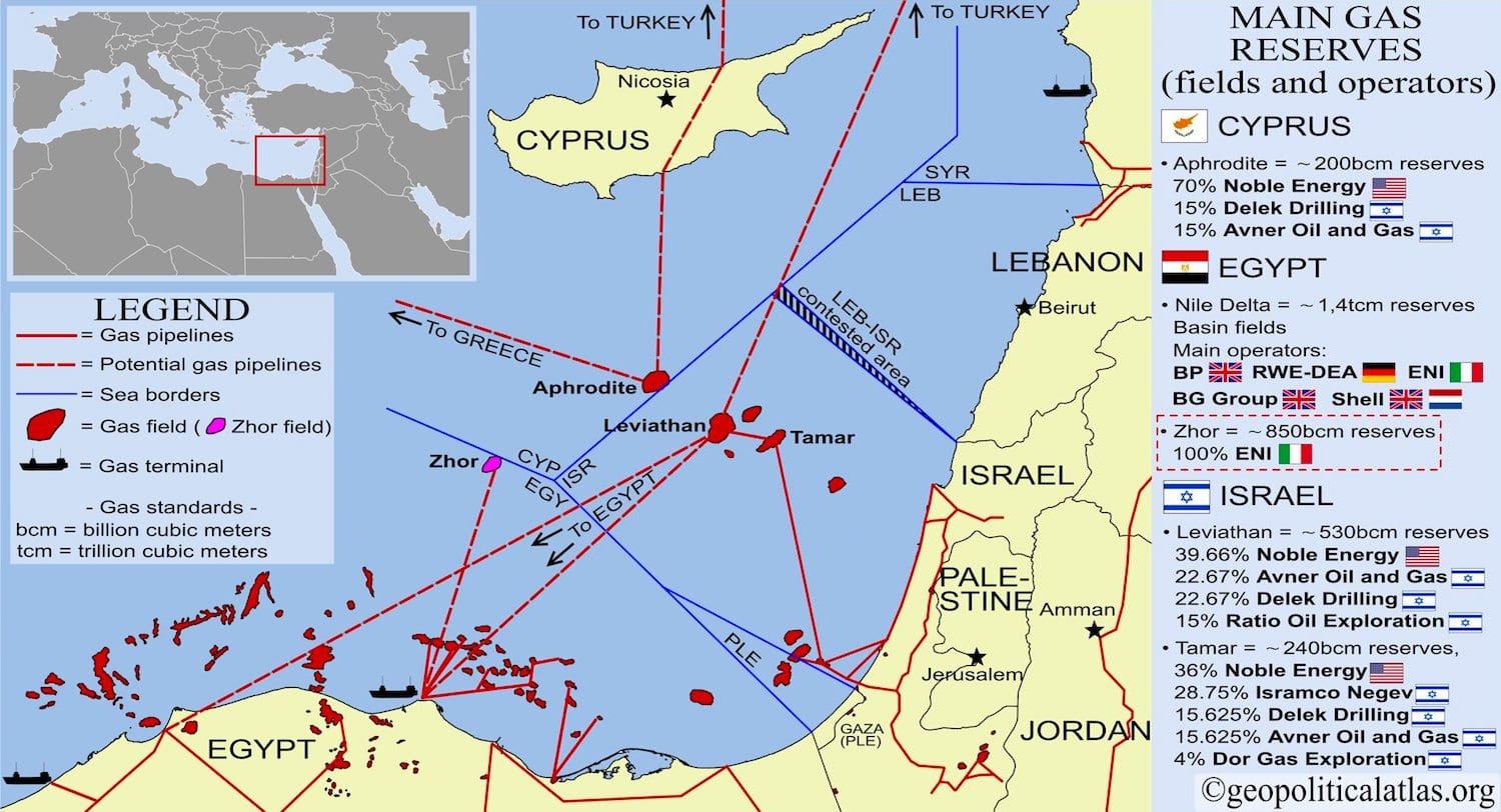 Main gas fields in the Eastern Mediterranean Sea (via geopoliticalatlas.org)