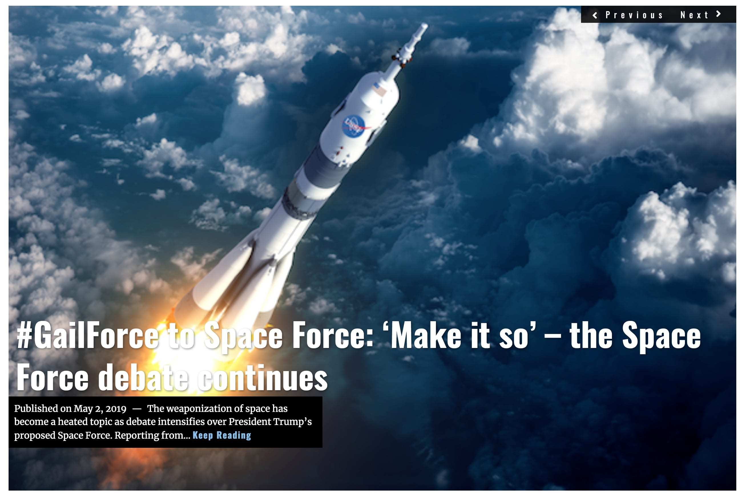 Image Lima Charlie News Headline GailForce to Space Force G. Harris MAY 2 2019