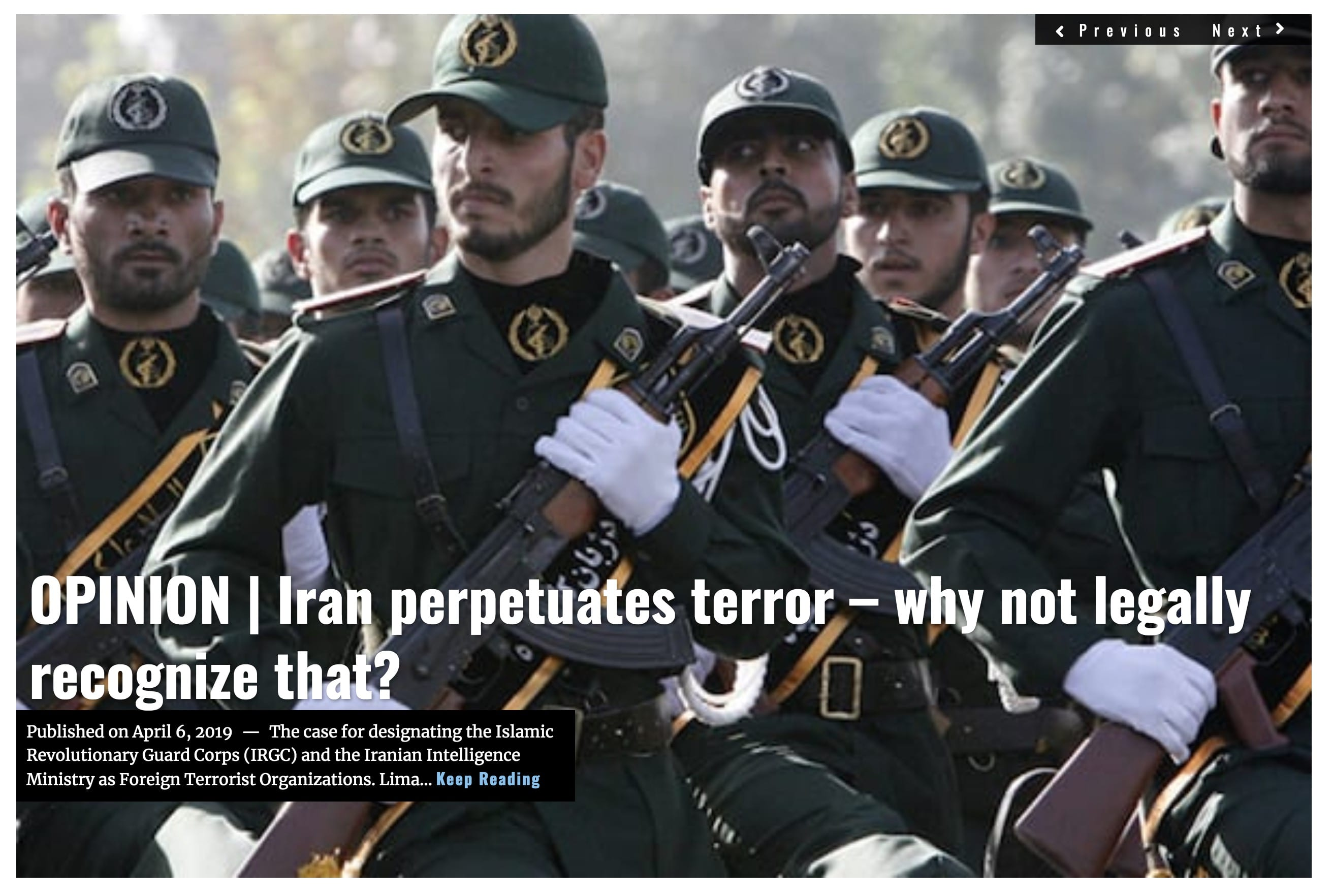 Lima Charlie News Headline Iran perpetuates terror Safavi Ali APR 6 2019