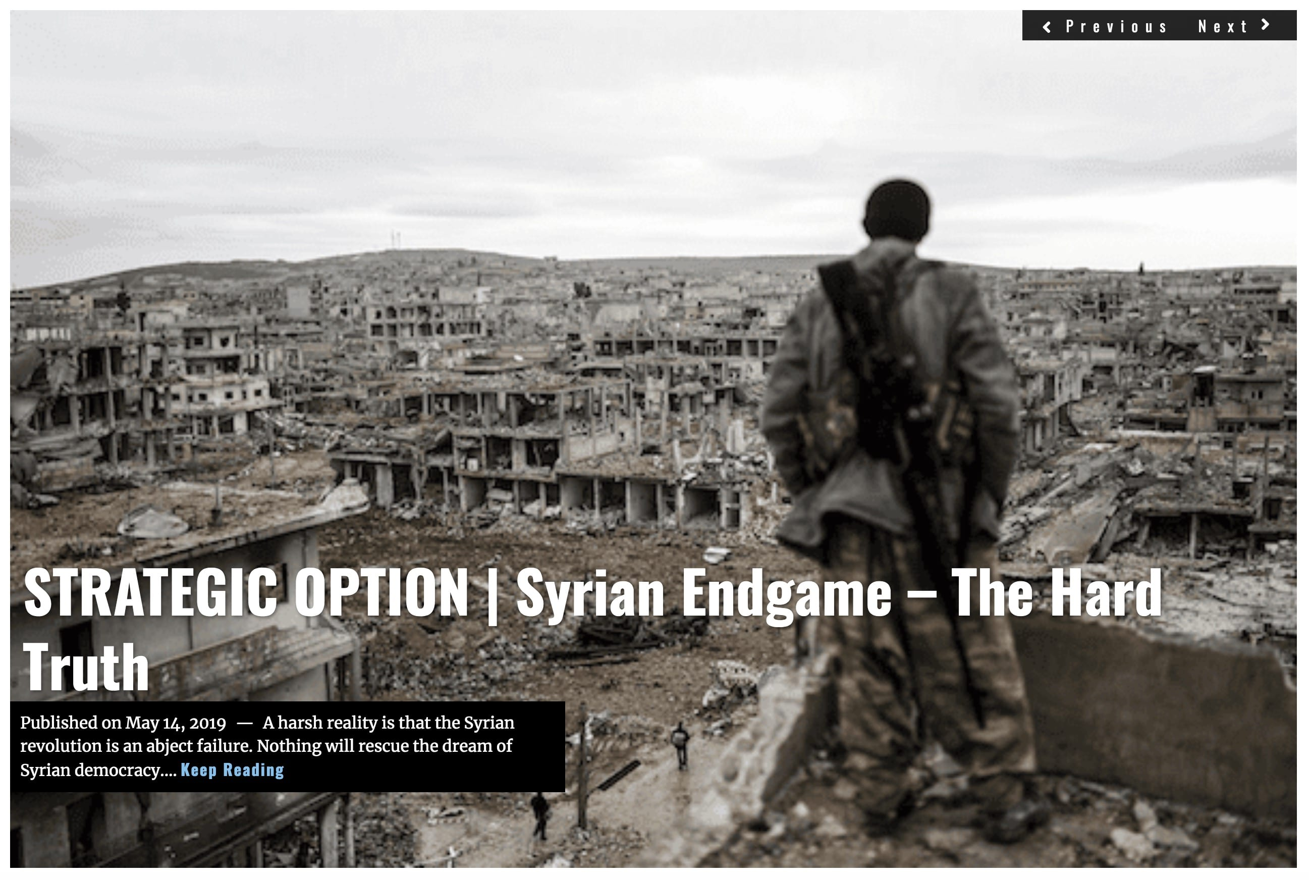Lima Charlie News Headline STRATEGIC OPTION Syrian Endgame MAY 14 2019