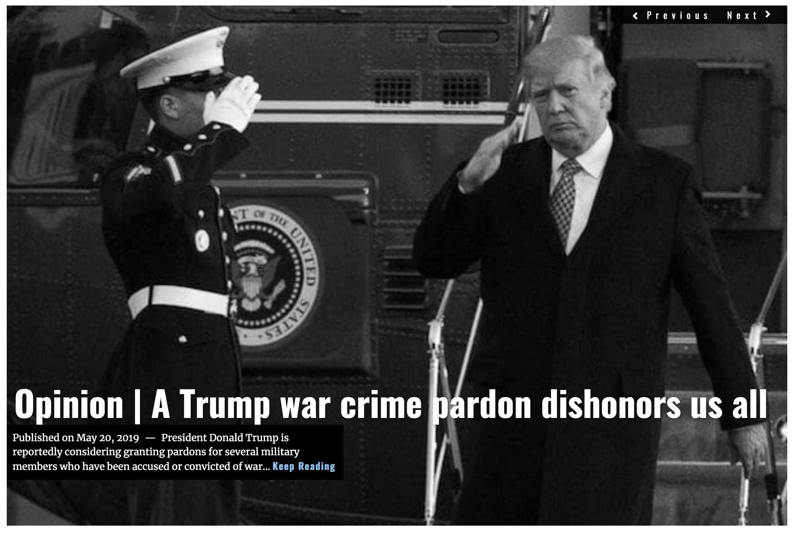 Lima Charlie News Headline Trump War Crime Pardon Dishonors MAY 20 2019