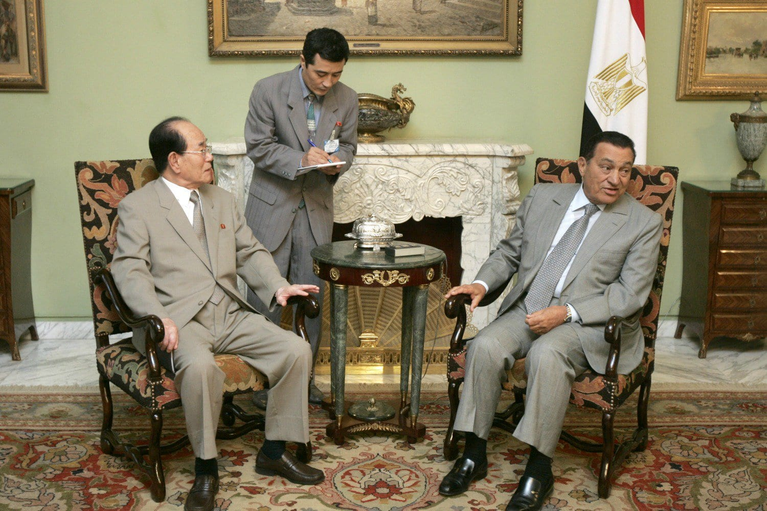 Image KIM YONG-NAM, PRESIDENT OF THE PRESIDIUM OF THE SUPREME PEOPLE'S ASSEMBLY OF NORTH KOREA, MEETS WITH THEN-EGYPTIAN PRESIDENT HOSNI MUBARAK AT THE PRESIDENTIAL PALACE IN CAIRO, EGYPT, JULY 26, 2007 (AP / BEN CURTIS).