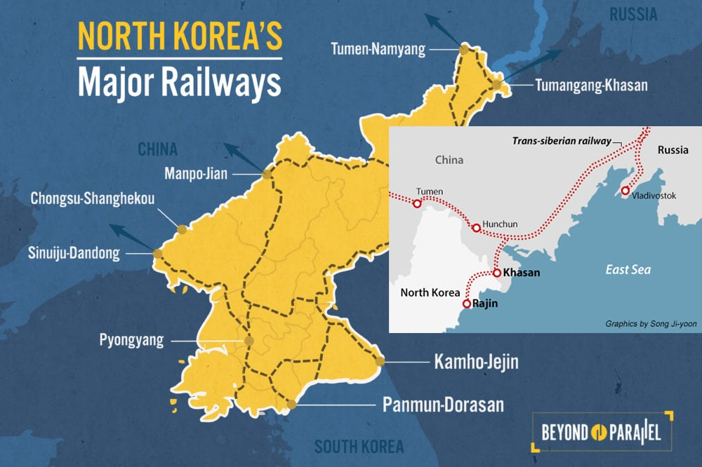 Image North Korea - Russia Railway Map