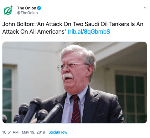 Onion tweet John Bolton