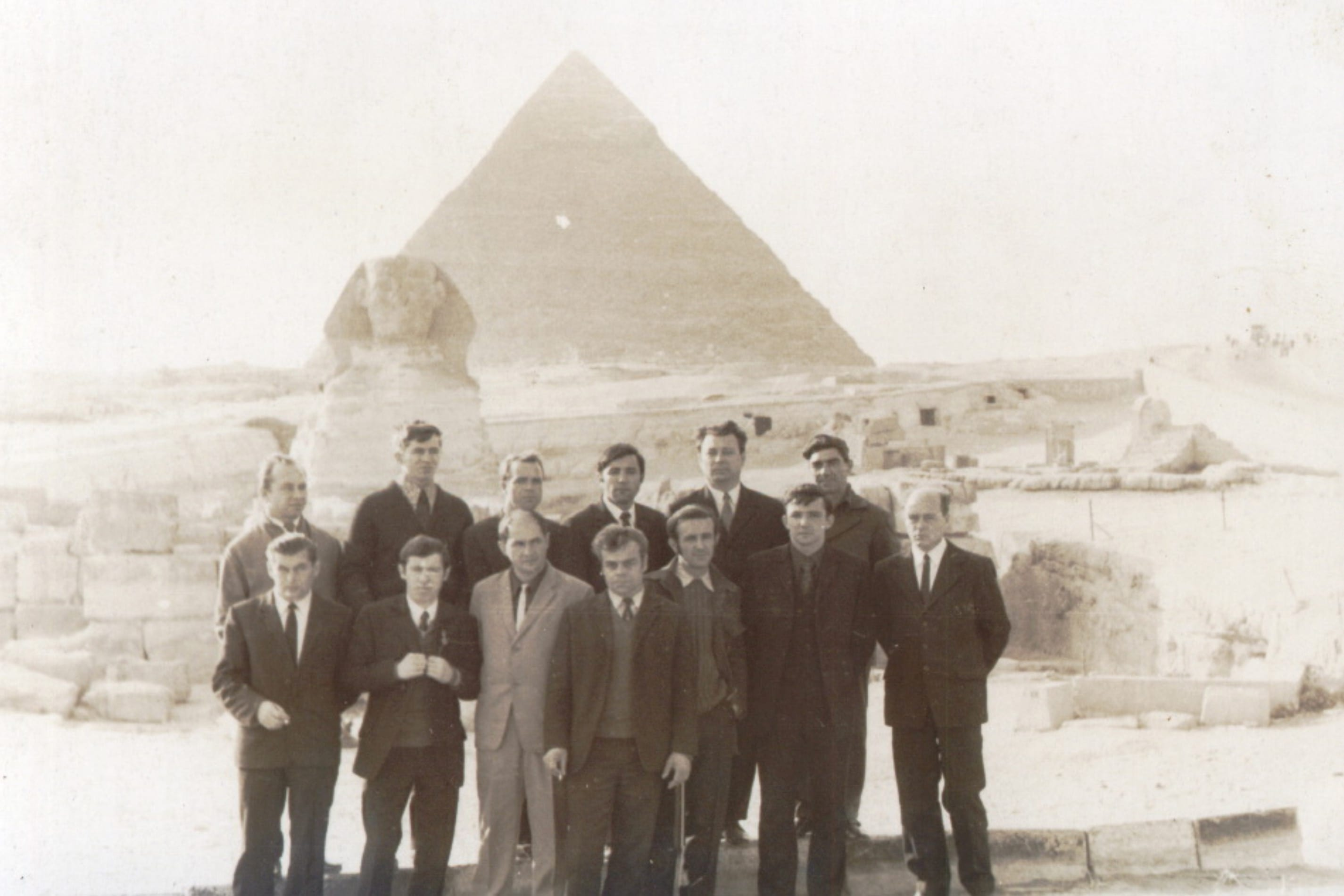 [Soviet military advisers against the background of the Pyramid of Khafre and the Great Sphinx, 1972]
